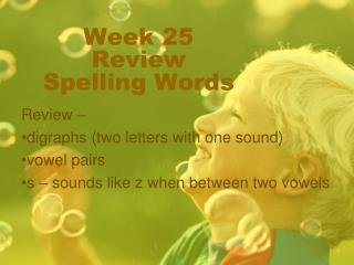 Week 25  Review Spelling Words