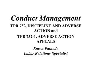 Conduct Management TPR 752, DISCIPLINE AND ADVERSE ACTION and TPR 752-1, ADVERSE ACTION APPEALS