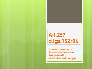 Art.257 d.lgs.152/06