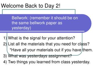 Welcome Back to Day 2!