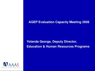 AGEP Evaluation Capacity Meeting 2008