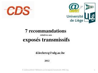 7 recommandations  relatives aux  exposés transmissifs
