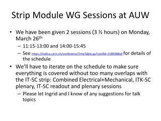Strip Module WG Sessions at AUW