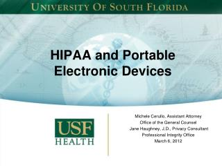 HIPAA and Portable Electronic Devices
