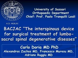 Carlo Doria MD PhD Alexandros Zachos MD, Francesco Muresu MD, Adriano Ruggiu MD