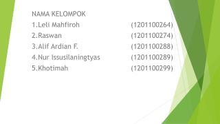 NAMA KELOMPOK 1.Leli  Mahfiroh (1201100264) 2.Raswan (12011002 74 )