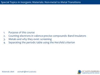 Special  Topics in Inorganic Materials: Non-metal to Metal  Transitions