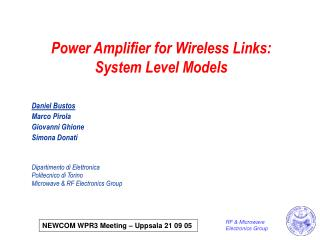 Power Amplifier for Wireless Links: System Level Models