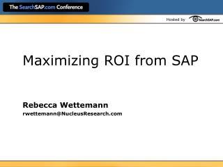 Maximizing ROI from SAP