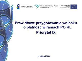 Prawidłowe przygotowanie wniosku o płatność w ramach PO KL  Priorytet IX