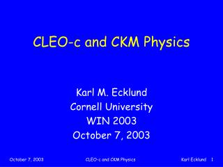 CLEO-c and CKM Physics