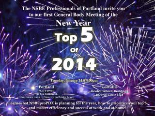 The NSBE Professionals of Portland invite you to our first General Body Meeting of the  New Year
