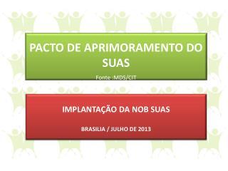 PACTO DE APRIMORAMENTO DO SUAS Fonte :MDS/CIT