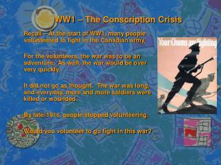 WW1   The Conscription Crisis