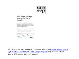 London Search Engine Optimisation Experts With Latest Google Algorithm