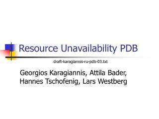 Resource Unavailability PDB
