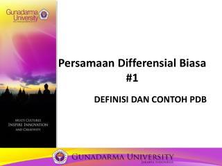 Persamaan Differensial Biasa #1