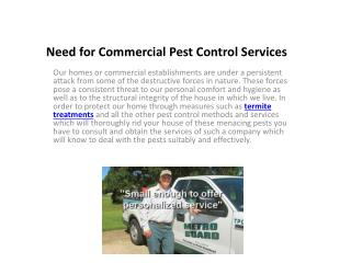 Need for Commercial Pest Control Services