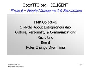 OpenTTO - DILIGENT Phase 6 –  People Management & Recruitment