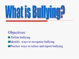 Objectives:  Define bullying Identify  ways to recognize bullying