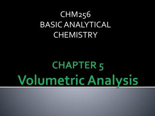CHAPTER 5 Volumetric Analysis