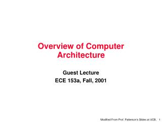 Overview of Computer Architecture