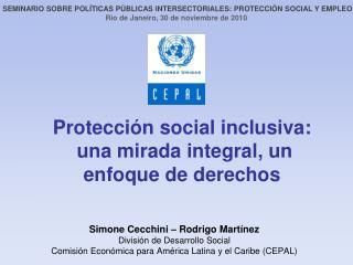 Protección social inclusiva:   una mirada integral, un enfoque de derechos