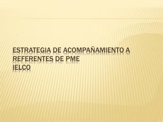 ESTRATEGIA DE ACOMPAÑAMIENTO A REFERENTES DE PME  IELCO