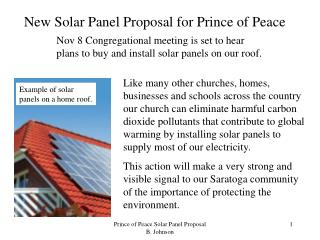 New Solar Panel Proposal for Prince of Peace