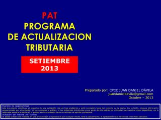 PAT PROGRAMA DE ACTUALIZACION TRIBUTARIA
