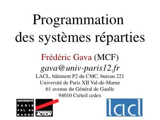 Programmation  des syst mes r parties