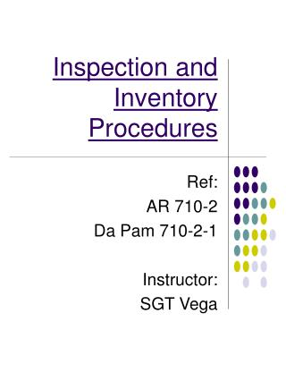 Inspection and Inventory Procedures