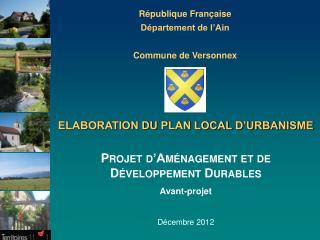 République Française Département de l'Ain Commune de Versonnex