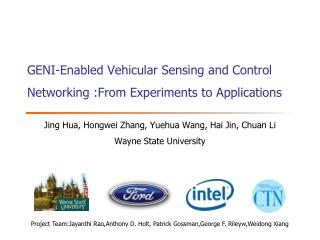 GENI-Enabled Vehicular Sensing and Control Networking :From Experiments to Applications
