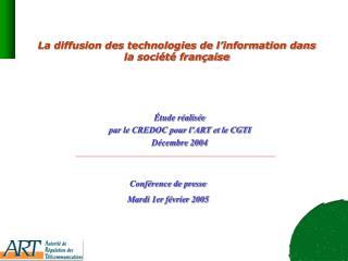 La diffusion des technologies de l'information dans la société française