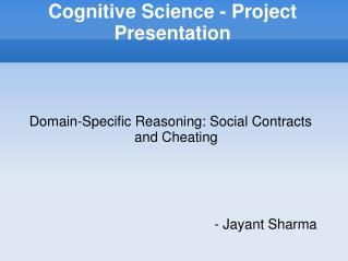 Cognitive Science - Project Presentation
