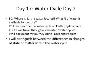 Day 17: Water Cycle Day 2