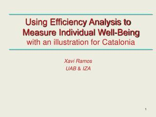 Using Efficiency Analysis to Measure Individual Well-Being with an illustration for Catalonia