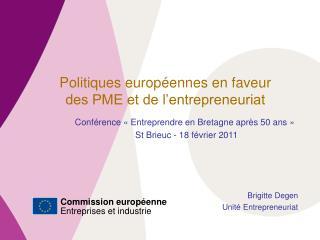 Politiques européennes en faveur  des PME et de l'entrepreneuriat