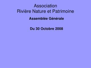 Association  Rivière Nature et Patrimoine