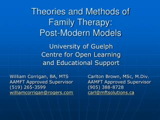 Theories and Methods of Family Therapy: Post-Modern Models