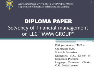 "DIPLOMA PAPER Solvency of financial management on LLC ""MWM GROUP"""
