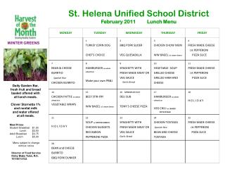 St. Helena Unified School District  February 2011 Lunch Menu