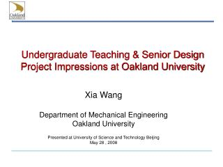 Undergraduate Teaching & Senior Design Project Impressions at Oakland University