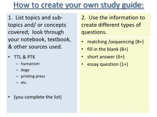How to create your own study guide: