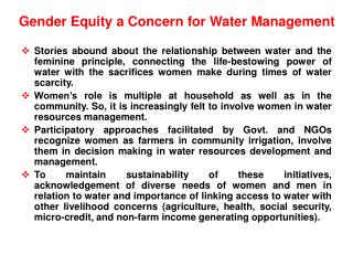 Gender Equity a Concern for Water Management