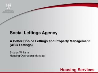 Social Lettings Agency A Better Choice Lettings and Property Management  (ABC Lettings)