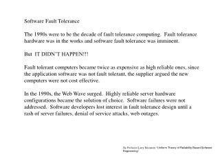 Software Fault Tolerance