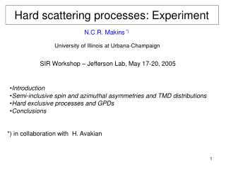 Hard scattering processes: Experiment