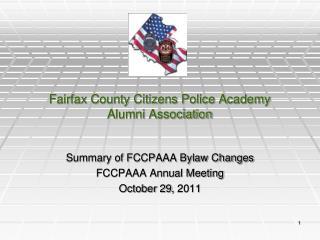 Fairfax County Citizens Police Academy  Alumni Association